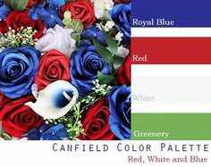 $250 Wedding Flower Package in red, white and blue wedding theme Red Color Schemes, Red Colour Palette, Gold Color Scheme, Wedding Color Schemes, Color Combinations, Red Bouquet Wedding, Red Wedding Flowers, Wedding Colors, Bridal Bouquets