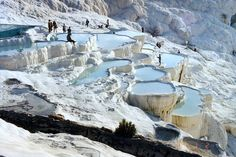 "Pamukkale is located in Turkey. In Turkish it means ""cotton castle"". The tectonic movements that took place in the fault depression of the Menderes river basin triggered frequent earthquakes, and gave rise to a number of hot springs. Pamukkale is one of Turkey's top attractions and a precious in the world with its cotton-look terraces.   (Pic By flickr user S.K. LO)"