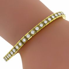 4.30ct Round Cut Diamond 18k Yellow Gold Tennis Bracelet - See more at: http://www.newyorkestatejewelry.com/bracelets/1960s-4.50ct-diamond-gold-bangle/24544/6/item#sthash.Q6sAafSC.dpuf