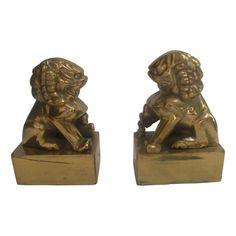 Brass Foo Dog Bookends - $300 Est. Retail - $155 on Chairish.com