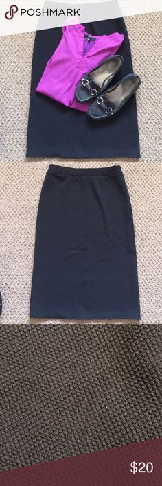 Sunny Leigh Black Pencil Skirt This Sunny Leigh Black Pencil Skirt is a polyester spandex blend and has an elastic waistband for extra comfort. Length 26 inches with a 6 inch slit in back. Last picture shows pattern of the material but 1st picture is true color. Sunny Leigh Skirts Pencil