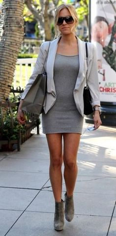 School Outfit: Kristin Cavallari   NOTE: Blazer with plain dress...light color scheme