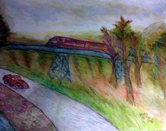 """""""Mountain Train"""" Watercolor, Watercolor Markers and colored pencil 2015"""