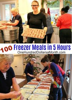 {Mrs. Hillbilly, The Church Lady, Me, The Hot Texan, Hulda, and Gertrude {Hulda's mom} Yesterday a bunch of us got together at my house and made 100 freezer meals in just under 5 hours. It.Was.Nuts. A few days before the freezer meal party, The Church Lady and I sat down and decided on which 5 …