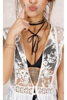 Gargantilha Couro Spirit Preto Fashion Closet - fashioncloset-mobile