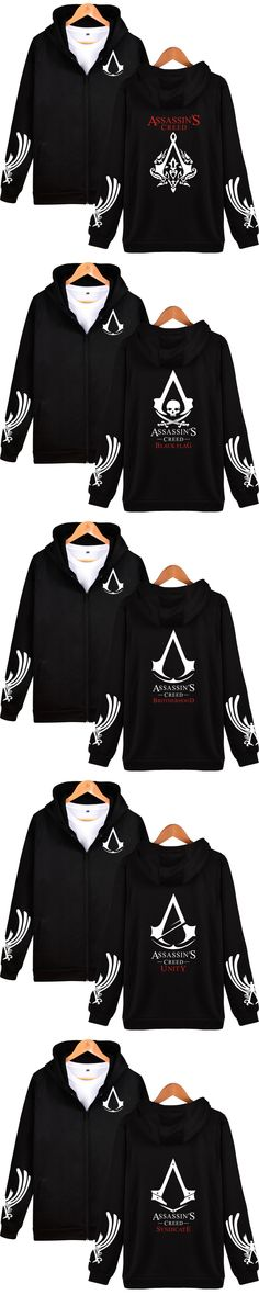 BATIGOL 2017 Assassin's Creed Printed Zipper Hooded Men's Hoodies Hip Hop Sweatshirts Cotton Autumn Clothes Plus Size 4XL