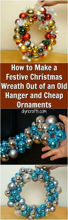 How to Make a Festive Christmas Wreath Out of an Old hanger and Cheap Ornaments! Really cute Christmas decor you can make cheaply from a few dollar store ornaments and a wire hanger. via @vanessacrafting