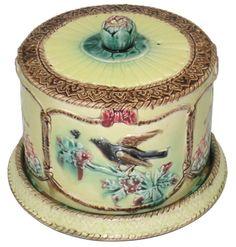 Antique British English Majolica Stoneware Cheese Dome & Stand