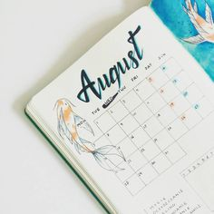 A close up on the monthly spread. I think I fell in love with the fish theme. But I'm really glad that I left only the two things I need in the spread. Hopefully I'll be able to make more drawings like this further on. #bulletjournal #bujo #bulletjournalpolska #bulletjournaljunkies #august #monthlyspread #koi