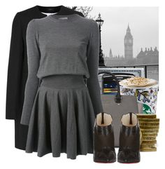 """""""Grey Autumn"""" by jacisummer ❤ liked on Polyvore featuring Brewster Home Fashions, Joseph, Michael Kors, Alexander McQueen and Christian Louboutin"""