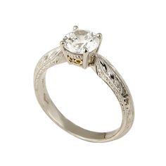 P19-26-P  Platinum hand engraved solitaire engagement ring, accented with 18k yellow gold filigree #WeddingRings #EngagementRings #DiamondRings #Varna #VarnaJewelry #VarnaDesigns