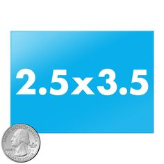 2.5x3.5 inch rectangle buttons size compared to quarter