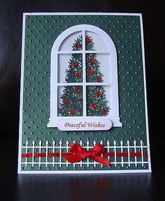 Stampin Up Handmade Christmas Tree Window Card - Uses embossing folder by bethany