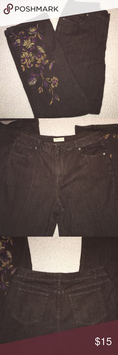 """Brown Denim Stretchy Jeans By Coldwater Creek Plus These jeans are so comfy yet classy. Can be dressed up or down. I love the floral pattern on the bottom of the left side. Really cute design. Great colors for fall as well. They have a 36"""" waist and inseam is 32"""". Not a huge flare in the hem but not straight cut either. I wore them with boots. Coldwater creek Jeans Boot Cut"""