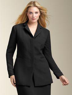 black longer-length jacket w pants for interviews