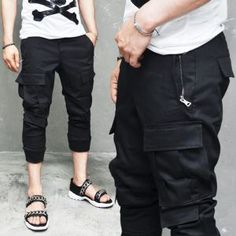 Bottoms :: Pants :: Ankle Length Banding Cargo Slacks-Pants 131 - Mens Fashion Clothing For An Attractive Guy Look