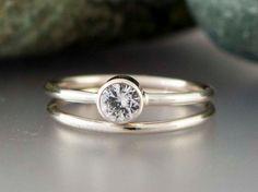 14k White Gold and White Sapphire Wedding Ring by LichenAndLychee, $420.00