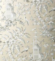 Pagoda Garden - Metallic Pewter wallpaper | Imperial Garden | Thibaut