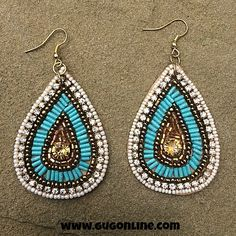 Gypsy Soule Turquoise, Gold and Crystal Seedbead Dangle Earrings $24.95 www.gugonline.com