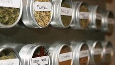 For Your Spices: Make use of vertical space (and easily locate the cumin!) with a magnetic rack. - Six space-saving kitchen tricks via Spice Storage, Spice Organization, Organizing Ideas, Kitchen Hacks, Kitchen Ideas, Kitchen Decor, Magnetic Spice Tins, Space Saving Kitchen, Kitchen Grill