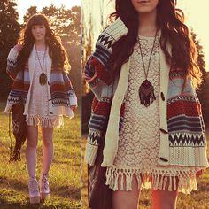 Ashlei Louise . - Lookbook Store Crochet Dress, Romwe Patterned Sweater - The sun set on autumn // +$100 giveaway on blog
