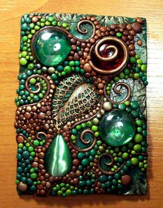 Funky Mosaic - would make a fun switchplate too:) Mixed media love!