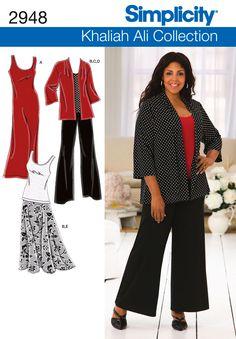 2948Plus Size Sportswear  Plus Size & Plus Size Petite Khaliah Ali Collection knit dress, top, jacket, pants and skirt sewing pattern.