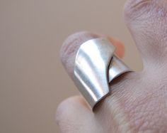 Wide Band Ring Silver Wide Band Dot Ring Gift for her by ZizouArT