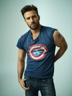 Chris Evans sports a Captain America t-shirt as he poses for the pages of Rolling Stone.