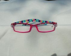 Check out Sale! 25% off Swarovski Crystal Reading Glasses, 1.50 Strength, Hot Pink Frames, Striped Arms, Clear and Indian Pink Crystals, on jamaartbeads