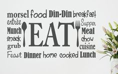 Kitchen wall decals - kitchen wall decal eat sign vinyl lettering fork and spoon wall decal breakfast decal restaur Kitchen Wall Quotes, Kitchen Wall Decals, Kitchen Vinyl, Kitchen Art, Kitchen Backsplash, Kitchen Dining, Wall Stickers Quotes, Vinyl Wall Stickers, Custom Stickers