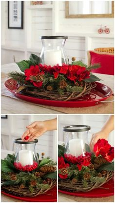magical christmas centerpieces that you can do in no time 28 ~ my. magical christmas centerpieces th. Christmas Table Centerpieces, Gold Christmas Decorations, Christmas Arrangements, Christmas Table Settings, Christmas Tablescapes, Christmas Candles, Christmas Wreaths, Magical Christmas, Christmas Time