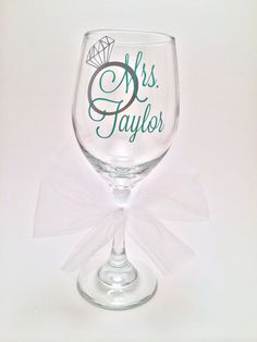 Personalized Mrs Wedding Gift for Bride, Engagement Gift, Bridal Shower Gift, Wine Glass Gift by PrettyLittleVinyls on Etsy https://www.etsy.com/listing/199176500/personalized-mrs-wedding-gift-for-bride