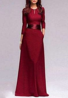 Noble Jewel Neck 3/4 Sleeve Pure Color Self Tie Belt Maxi Dress For Women