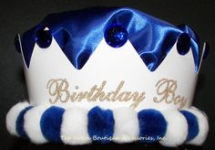Boys Blue Jeweled Birthday Crown Embellished Pom Pom Satin Party Hat Accessory #PartyHatsLLC