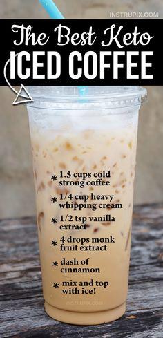 Helado Keto, Keto Coffee Recipe, Iced Coffee Dunkin Donuts Recipe, Low Carb Iced Coffee Recipe, Iced Coffee Recipes, Iced Coffee Protein Shake Recipe, Comida Keto, Low Carb Drinks, Low Carb Smoothies