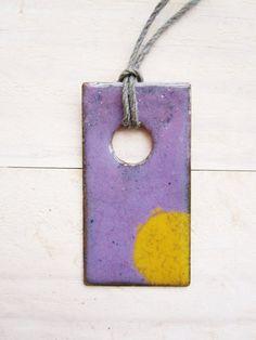 Enamel pendant modern rectangle shaped with big by poppyshome, $25.00