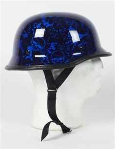 Our Novelty Blue Skull German Motorcycle Helmet looks good, fits great, and weighs next to nothing! Take a good look at that picture one more time, nasty-cool isn't it? The gloss finish, rubber edge molding and graphics make this helmet some great eye candy.
