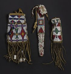 Group of Plains Beaded Hide Cases (via Sotheby's): Cheyenne strike-a-light bag, whetcase, and tail bag. Native Beadwork, Native American Beadwork, Native American Indians, Native Americans, American Impressionism, Beaded Bags, Beaded Jewelry, Native American Artifacts, Bead Loom Bracelets