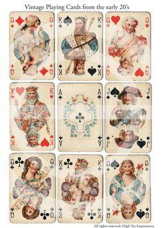 VINTAGE PLAYING CARDS  - Digital Collage Sheet - Printable Download - Scrapbooking - Images. $1.95, via Etsy.