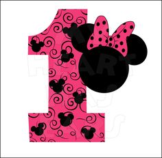 Minnie Mouse 1st Birthday INSTANT DOWNLOAD digital clip art :: My Heart Has Ears. Make an iron on transfer!