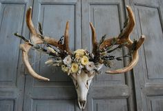 Deer Skull with Preserved Floral Crown  Large by MaisonDeLaCroix