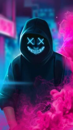 Neon Masked Hoodie Guy Smoke - IPhone Wallpapers