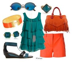 """""""Orange & Peacock"""" by maloops ❤ liked on Polyvore featuring Versace, Miu Miu, Vic Matié, Lucky Brand, Moschino, Sam Edelman, CC SKYE, chic, orange and teal"""