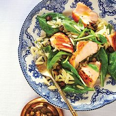 Warm Salad of Salmon, Baby Spinach, Orzo and Crispy Capers