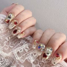 Cute Acrylic Nails, Cute Nails, Pretty Nails, My Nails, Mexican Nails, Korea Nail, Nail Jewels, Nail Art Pictures, New Nail Designs