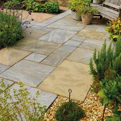 Old Black Classic Sandstone Paving - This light yellow & grey natural sandstone paving slab with black undertones has a light riven surface & hand cut edges. Calibrated for easier & more cost effective laying. Sandstone Paving Slabs, Concrete Paving, Paving Stones, Limestone Paving, Garden Paving, Garden Stones, Courtyard Gardens, Herbs Garden, Garden Path
