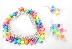 Neon Charm Bracelet & Matching Earrings, Rainbow Bracelet and Earrings