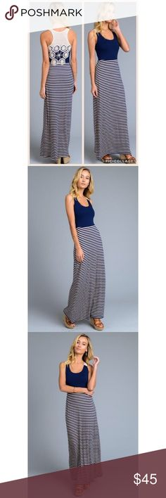 """Crochet Back Sleeveless Maxi Crochet Back Sleeveless Maxi Dress  🔹Top Is Navy 🔹Skirt is Navy and Beige Stripes 🔹Beautiful Crochet Design on Back 🔹Easy and Flattering Silhouette 🔹Length is approx. 56"""" 🔹48% Rayon/48% Polyester/4% Spandex  💵Price Firm Unless Bundled 👍🏻Top Rated Seller 👍🏻Fast Shipping 🚫No Trades Dresses Maxi"""
