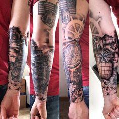 Part 3 of 4 of my nautical theme sleeve. Coming together quite nicely! ⚓️⛵️ #tattoo #nauticaltattoo #tattooedandemployed #tat #sleevetattoo #piratetattoo #compasstattoo #ships #cooltattoos #flagtattoo #tat #oceantattoo
